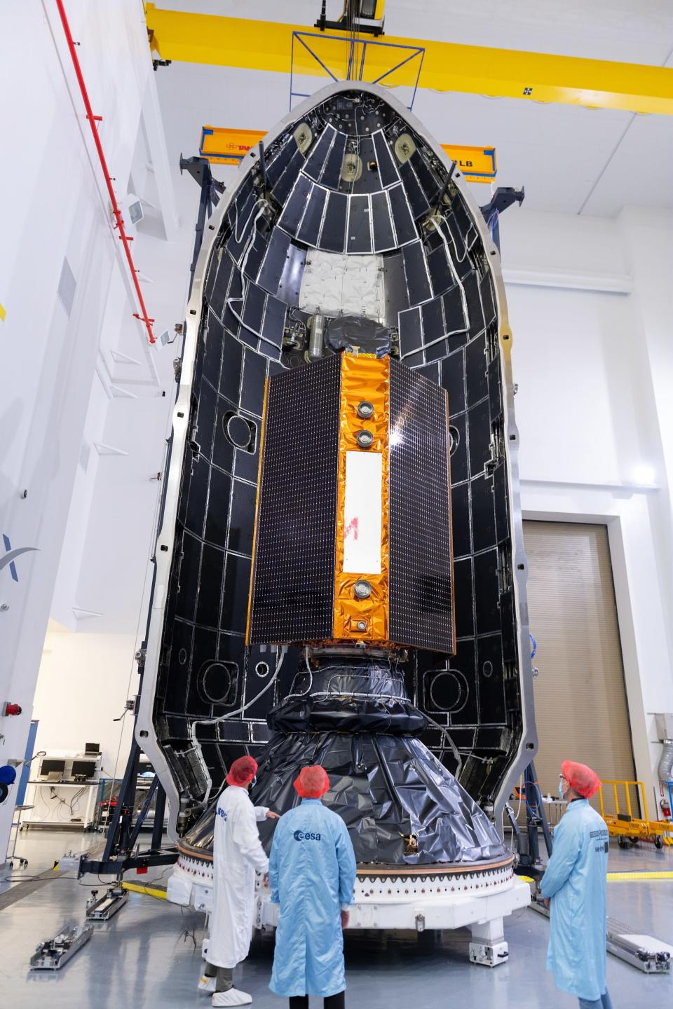 In this Nov. 3, 2020 photo, provide by the European Space Agency, the Sentinel-6 satellite is placed inside the upper stage of a Falcon 9 rocket. The joint European-U.S. satellite mission to improve measurements of sea level rise is being launched from Vandenberg Air Force Base in California on Saturday Nov. 22, 2020. The Sentinel-6 Michael Freilich satellite, named after the late director of NASA's Earth Science Division, is seen as a crucial tool for monitoring the impact of global warming on coastlines, where billions of people face the risk of encroaching oceans in the coming decades. (ESA/Stephane Corvaja via AP)