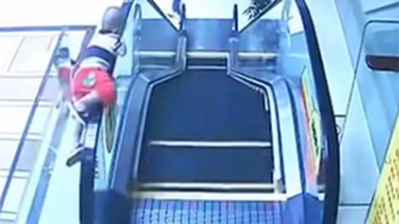 Shocking escalator fall video a warning for all parents