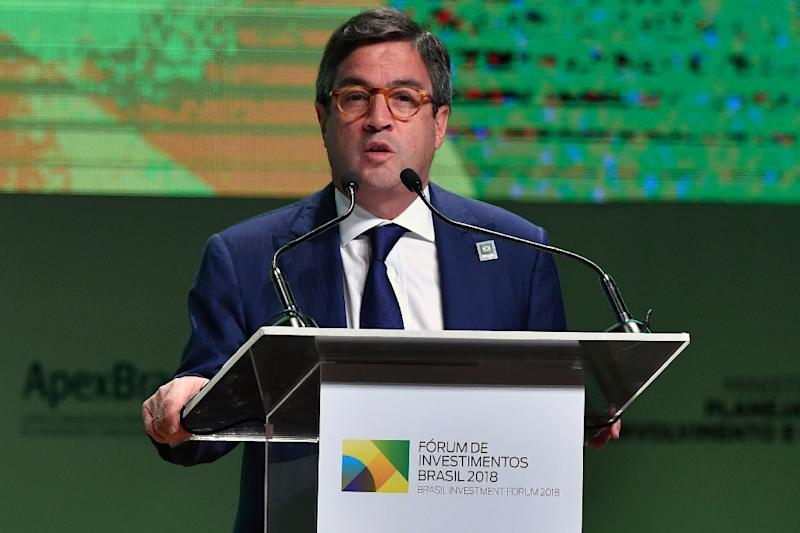 The president of the Inter-American Development Bank, Luis Alberto Moreno, speaks to investors in Sao Paulo in May 2018