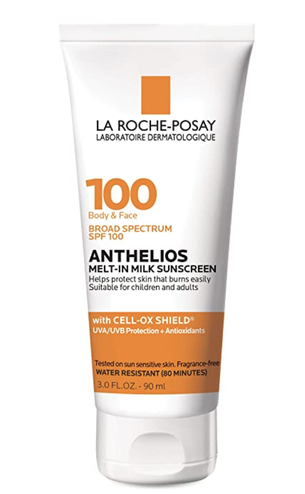 """<p><strong>La Roche-Posay</strong></p><p>amazon.com</p><p><strong>$24.99</strong></p><p><a href=""""https://www.amazon.com/dp/B07YGVSGMW?tag=syn-yahoo-20&ascsubtag=%5Bartid%7C10055.g.2487%5Bsrc%7Cyahoo-us"""" rel=""""nofollow noopener"""" target=""""_blank"""" data-ylk=""""slk:Shop Now"""" class=""""link rapid-noclick-resp"""">Shop Now</a></p><p>From the dermatologist-recommended skincare brand La Roche-Posay, this fragrance-free light lotion was a GH Beauty Lab test winner for not leaving a white residue on skin. The formula, which works on both face and body, <strong>e</strong><strong>arned high marks for making skin feel hydrated yet not tacky and for creating no chalky cast or film </strong><strong>among testers with darker skin tones</strong>. """"It absorbed very well into the skin, was weightless, and even on the go I forgot that I was wearing a SPF 100 sunscreen,"""" a fan marveled.</p>"""