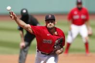 Boston Red Sox's Nathan Eovaldi pitches during the sixth inning of a baseball game against the Toronto Blue Jays, Sunday, Aug. 9, 2020, in Boston. (AP Photo/Michael Dwyer)