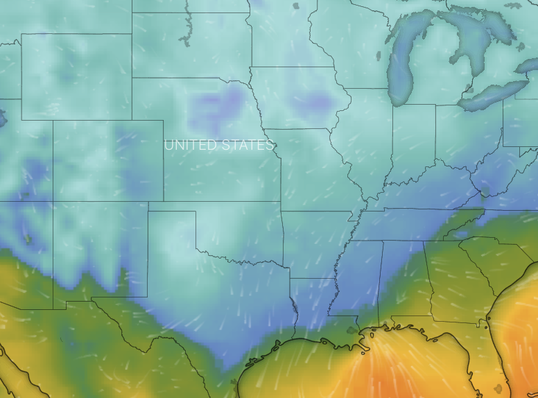 Freezing temperatures are continuing to linger across the US. Source: Windy.com