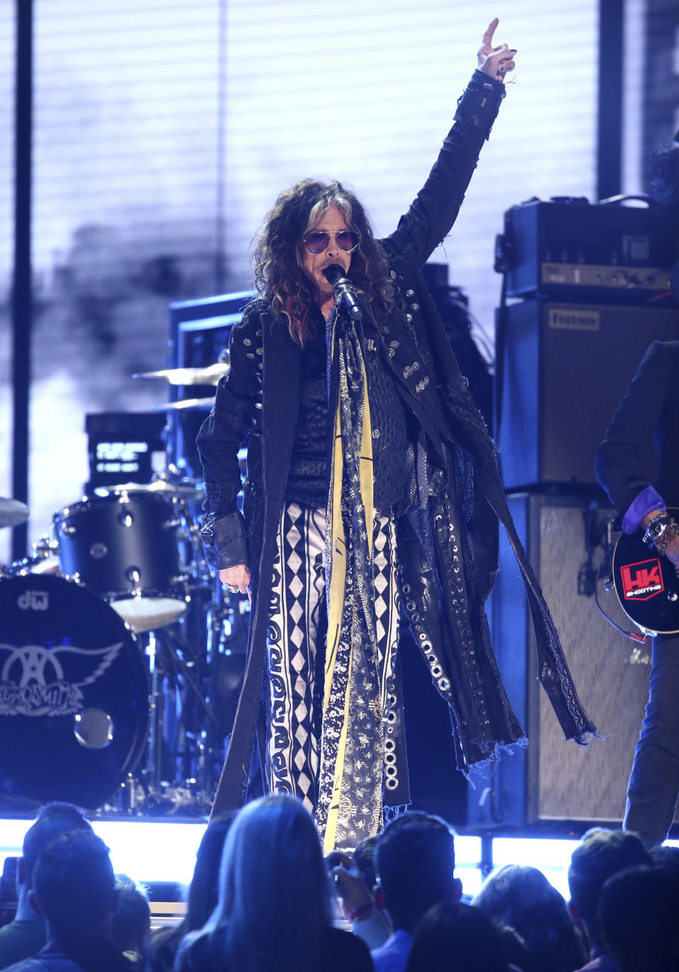 Steven Tyler, of the musical group Aerosmith, performs at the 62nd annual Grammy Awards on Sunday, Jan. 26, 2020, in Los Angeles. (Photo by Matt Sayles/Invision/AP)