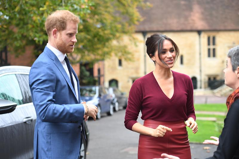WINDSOR, UNITED KINGDOM - OCTOBER 25: Meghan, Duchess of Sussex and Prince Harry, Duke of Sussex attend a roundtable discussion on gender equality with The Queens Commonwealth Trust (QCT) and One Young World at Windsor Castle on October 25, 2019 in Windsor, England. (Photo by Jeremy Selwyn - WPA Pool/Getty Images)