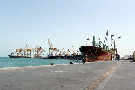 A ship is docked at the Red Sea port of Hodeidah