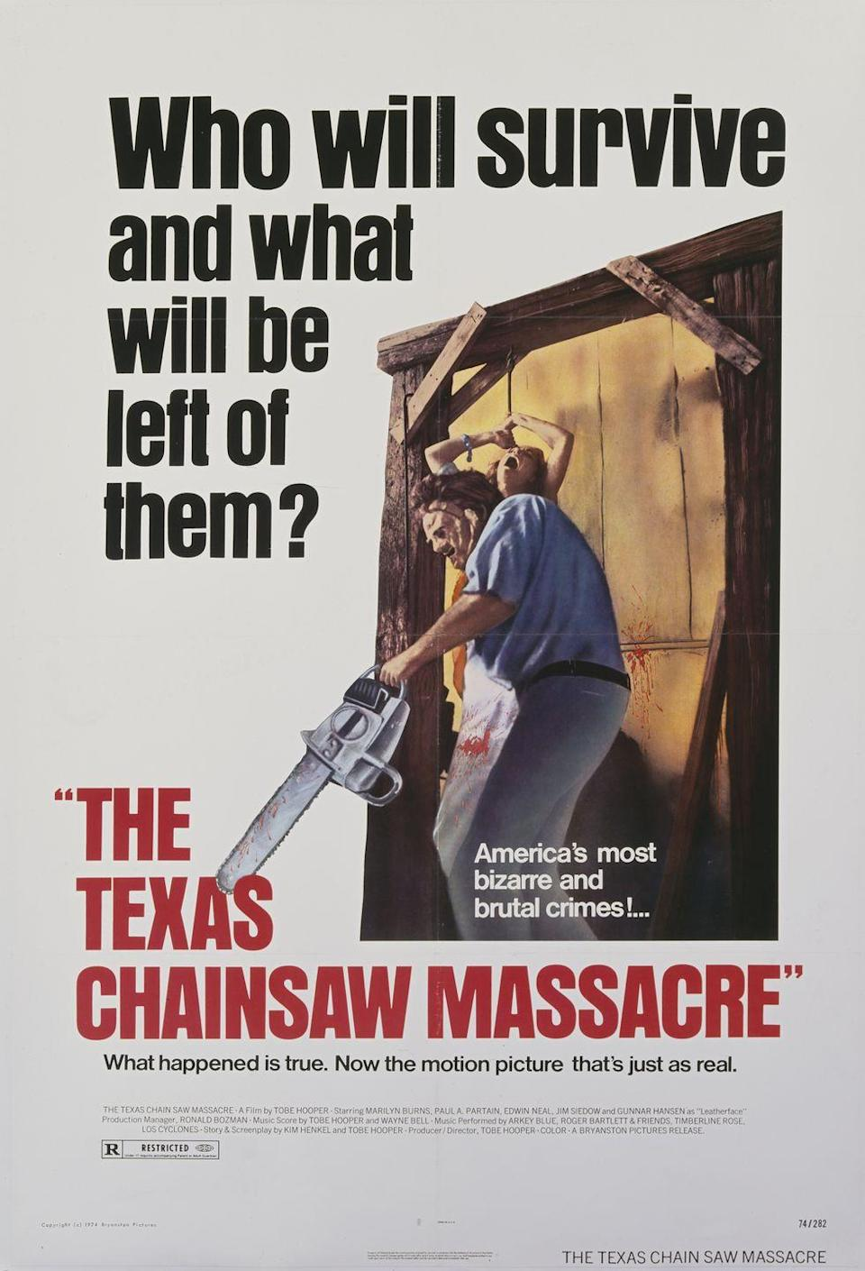 <p>Tobe Hooper's <em>The </em><em>Texas Chainsaw Massacre</em> was released on October 1, 1974, quickly becoming everyone's worst nightmare. The intensely brutal film spawned a film franchise, and Leatherface, the film's villain, is still a common costume today. Also in 1974, puppeteer Ralph Lee started the famous Village Halloween Parade in New York City. </p>