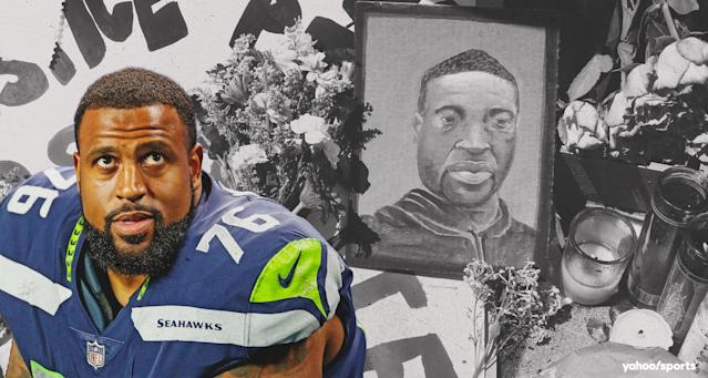 Seattle Seahawks tackle Duane Brown is among the NFL players speaking out about the tragic killing of George Floyd in Minneapolis. (Amber Matsumoto/Yahoo Sports)