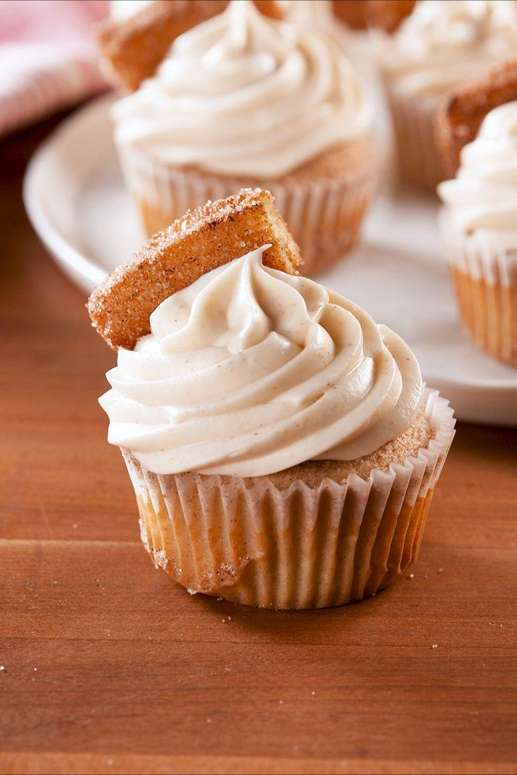 """<p>Cinnamon sugar from top to bottom.</p><p>Get the recipe from <a href=""""https://www.delish.com/cooking/recipe-ideas/a27260230/churro-cupcakes-recipe/"""" rel=""""nofollow noopener"""" target=""""_blank"""" data-ylk=""""slk:Delish"""" class=""""link rapid-noclick-resp"""">Delish</a>.</p>"""