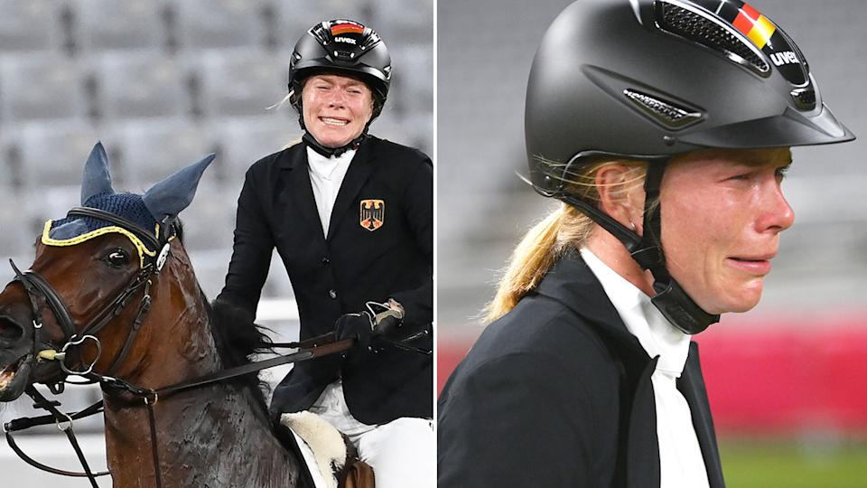 Pictured here, a distraught Annika Schleu at the Olympics after her horse Saint Boy refused to jump several times in competition.