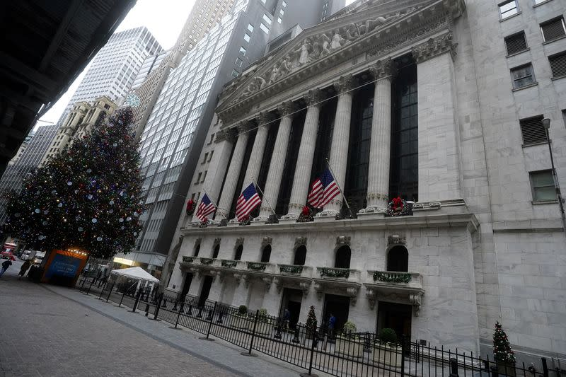 A Christmas tree is pictured outside the New York Stock Exchange