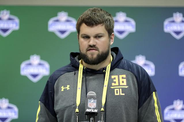 Wisconsin OT Ryan Ramczyk, who spent one year in Division-I, still should be a first-round pick. (AP)