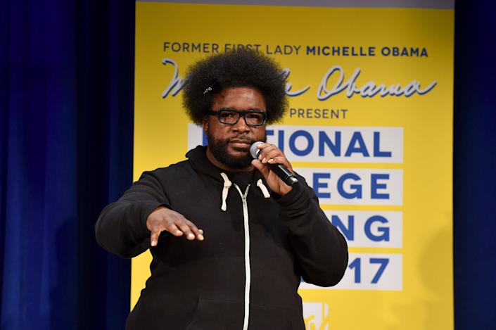 NEW YORK, NY - MAY 05:  Questlove speaks onstage during MTV's 2017 College Signing Day With Michelle Obama at The Public Theater on May 5, 2017 in New York City.  (Photo by Bryan Bedder/Getty Images for MTV)