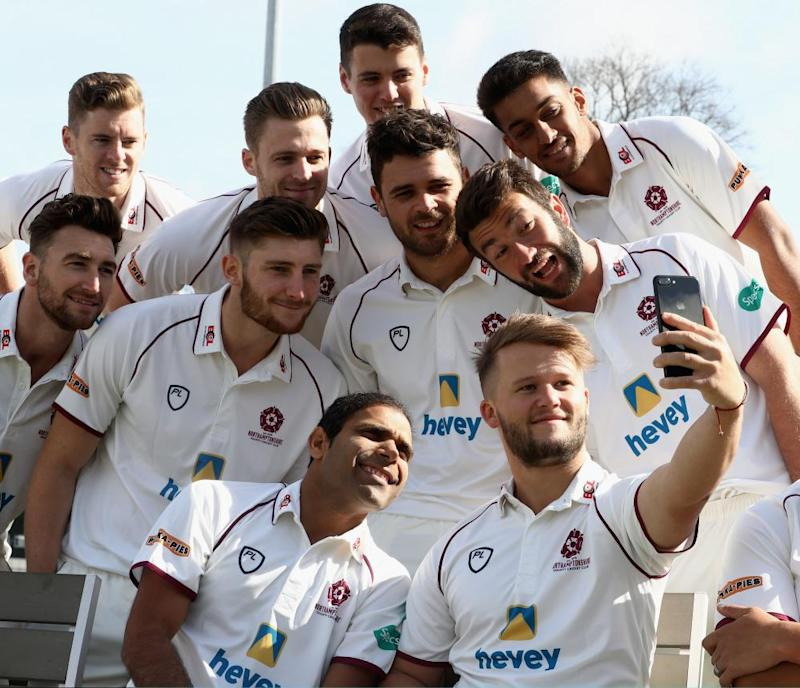Ben Duckett takes a selfie with team mates at The County Ground in Northampton.