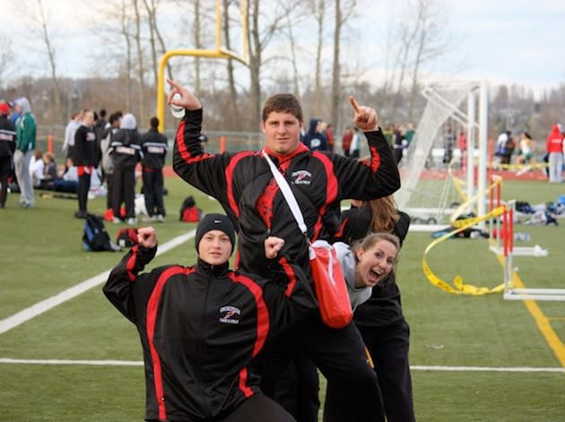 The Snohomish track team's field stars, including Travis Williams, center — Facebook