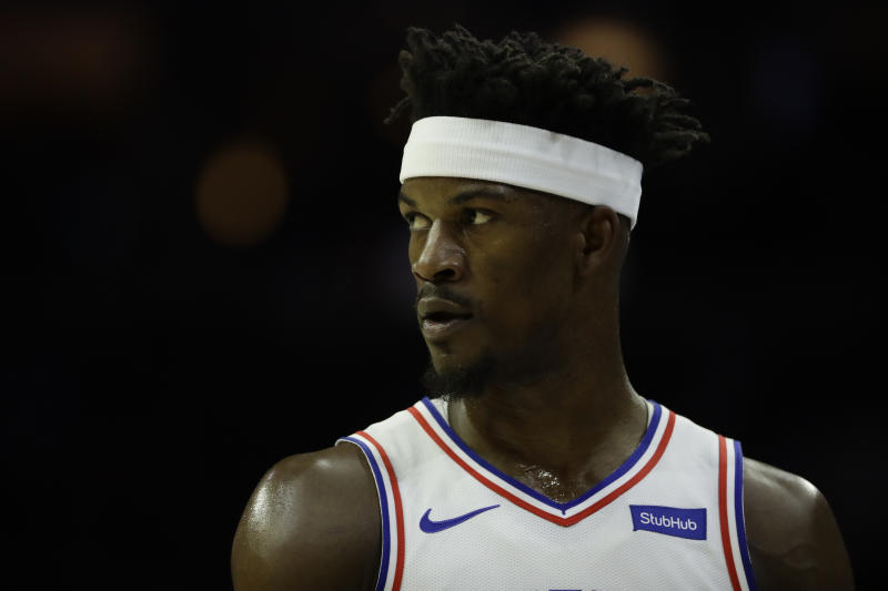 1c3d7693d57 76ers star Jimmy Butler was ruled out for the remainder of Monday s game  against the Pistons with a groin strain. (AP Photo Matt Slocum)