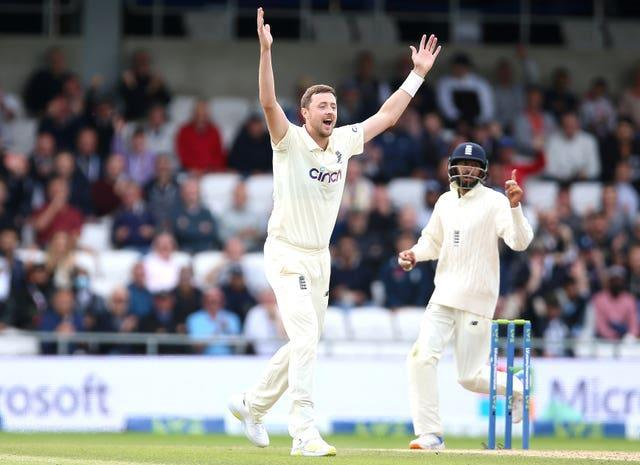 England's Ollie Robinson appeals without success