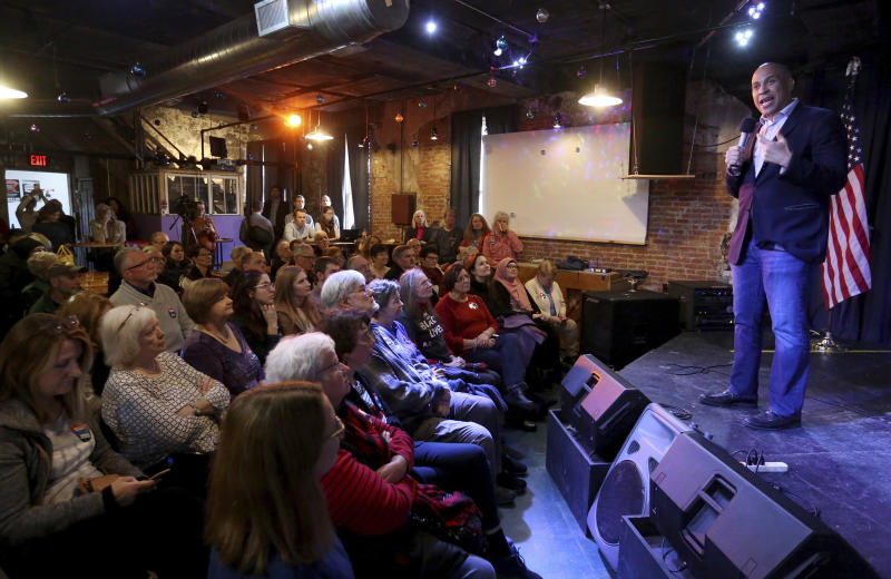 Democratic presidential candidate Sen. Cory Booker, D-N.J., speaks during an event at Smokestack in Dubuque, Iowa, on Sunday, Dec. 8, 2019.  (Jessica Reilly/Telegraph Herald via AP)