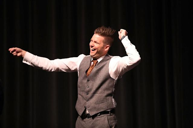 """<p>White nationalist Richard Spencer, who popularized the term """"alt-right"""" reacts to the audience as he speaks at the Curtis M. Phillips Center for the Performing Arts on Oct. 19, 2017 in Gainesville, Fla. (Photo: Joe Raedle/Getty Images) </p>"""