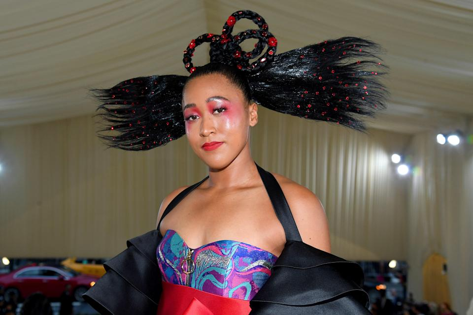 NEW YORK, NEW YORK - SEPTEMBER 13: Co-Chair Naomi Osaka attends The 2021 Met Gala Celebrating In America: A Lexicon Of Fashion at Metropolitan Museum of Art on September 13, 2021 in New York City. (Photo by Kevin Mazur/MG21/Getty Images For The Met Museum/Vogue)