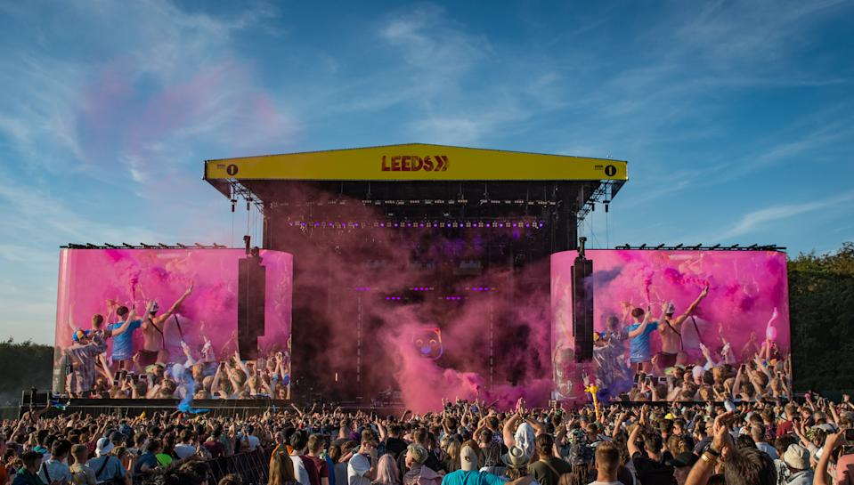 LEEDS, ENGLAND - AUGUST 24:  Matthew Murphy, Tord Øverland Knudsen and Dan Haggis of The Wombats perform on stage during Leeds Festival 2019 at Bramham Park on August 24, 2019 in Leeds, England. (Photo by Katja Ogrin/Redferns)