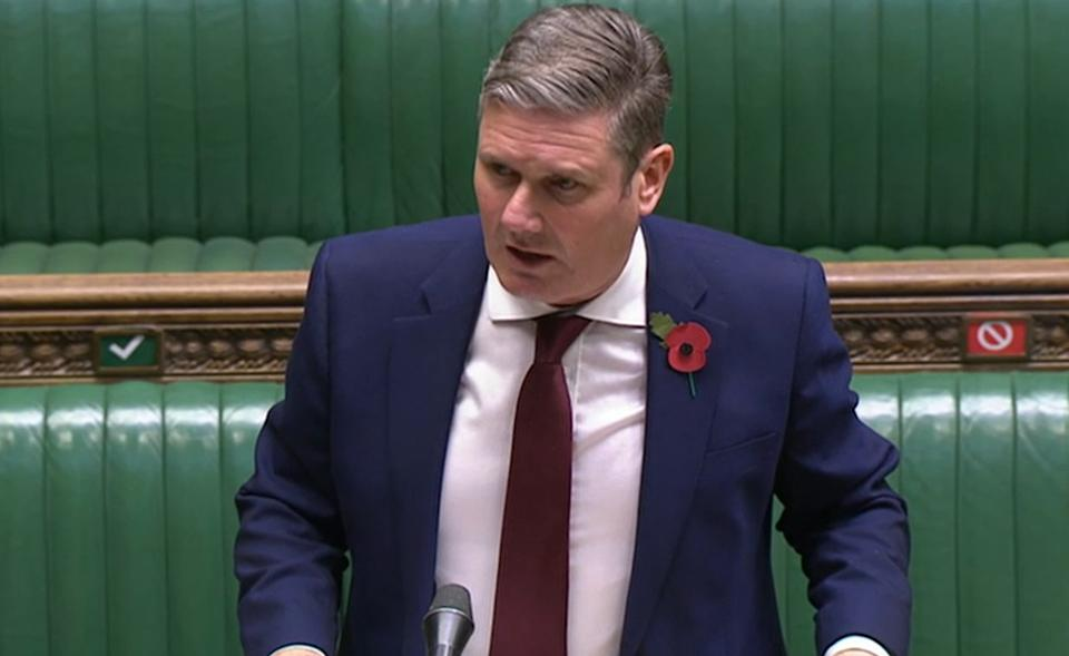 Screen grab of Labour Party leader Sir Keir Starmer responds to Prime Minister Boris Johnson's statement before the House of Commons where he warned MPs that coronavirus deaths over the winter could be twice as high as during the first wave of the pandemic, ahead of a national lockdown for England from Thursday. (Photo by PA Video/PA Images via Getty Images)