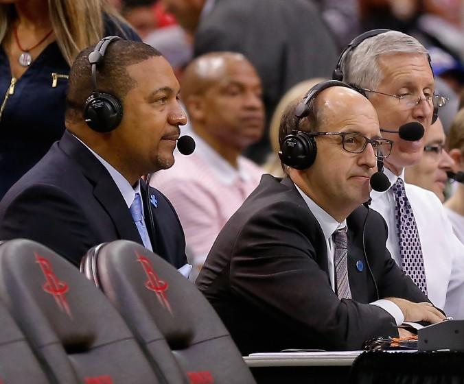 Commentators Marc Jackson, left, and Jeff Van Gundy look on during a basketball game Sunday, April 3, 2016, in Houston. Houston won 118-110. (AP Photo/Bob Levey)