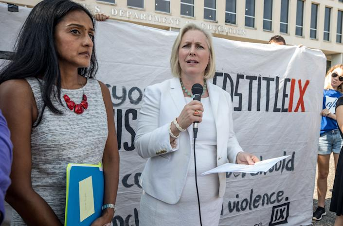 Gillibrand speaks at a rally for survivors of sexual assault on July 13, 2017 outside the Department of Education, ahead of a series of meetings that Secretary Betsy DeVos is holding with survivors, advocates for the wrongly accused and college administrators. (Photo: The Washington Post via Getty Images)