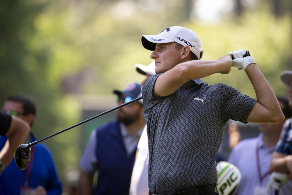 Emiliano Grillo, of Argentina, watches his drive off the 11th tee during the third round of the RBC Heritage golf tournament in Hilton Head Island, S.C., Saturday, April 17, 2021. (AP Photo/Stephen B. Morton)