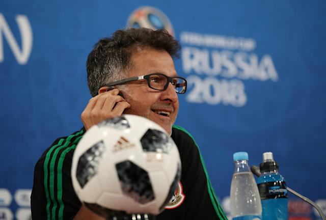 Soccer Football - World Cup - Mexico Press Conference - Rostov Arena, Rostov-on-Don, Russia - June 22, 2018 Mexico coach Juan Carlos Osorio during the press conference REUTERS/Marko Djurica