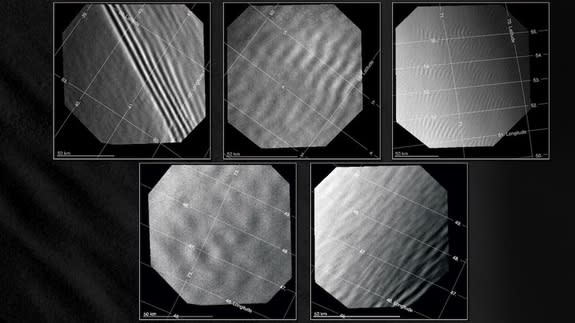 A study of gravity waves in the atmosphere of Venus found four types of waves: long (top left), medium (top center), short (top right) and irregular (bottom row). Identified in images obtained with the Venus Monitoring Camera aboard Venus Expre
