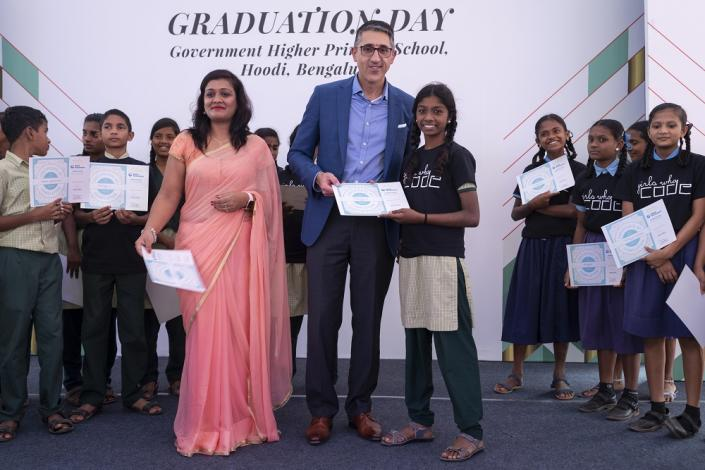 Alka Siddiqui, Digital Leader, Collins Aerospace and Vince Campisi, Chief Digital Officer, United Technologies at the graduation ceremony of India's first cohort of Girls Who Code club graduates on Wednesday, Nov. 6, 2019 in Bangalore, India. (Mahesh Bhat/AP Images for United Technologies)