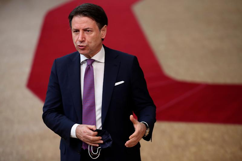 Italy's Prime Minister Giuseppe Conte release a steatment as he arrives at the European Union Council in Brussels on July 17, 2020, as the leaders of the European Union hold their first face-to-face summit over a post-virus economic rescue plan. - The EU has been plunged into a historic economic crunch by the coronavirus crisis, and EU officials have drawn up plans for a huge stimulus package to lead their countries out of lockdown. (Photo by Francisco Seco / POOL / AFP) (Photo by FRANCISCO SECO/POOL/AFP via Getty Images) (Photo: FRANCISCO SECO via Getty Images)