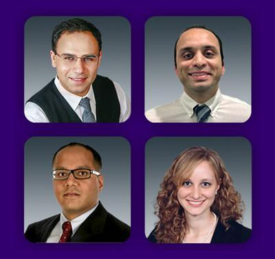 OC Blood & Cancer Care, nationally recognized board-certified oncologists and hematologists treating cancer and blood diseases in locations in Laguna Hills and Fountain Valley and at MemorialCare Cancer Institute facilities, include (clockwise from top left) Jack Jacoub, M.D.; Amol Rao, M.D.; Sarah Hassan, M.D.; and Gurpreet Multani, M.D.