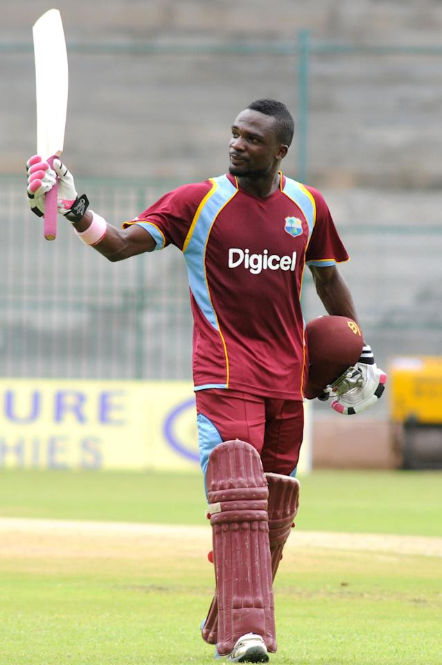 West Indies A player JL Carter during the ODI match between India A and West Indies A at M Chinnaswamy Stadium, Bangalore on Sept. 17, 2013. (Photo: IANS)