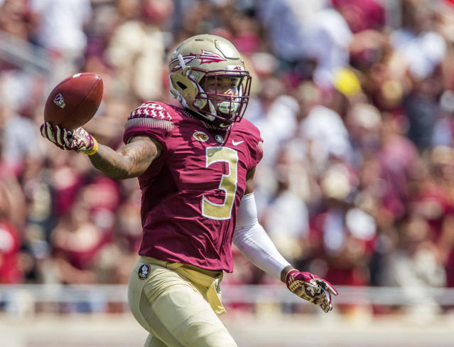 "Florida State defensive back <a class=""link rapid-noclick-resp"" href=""/ncaaf/players/251748/"" data-ylk=""slk:Derwin James"">Derwin James</a> is leaving school early to declare for the NFL draft. (AP Photo/Mark Wallheiser, File)"