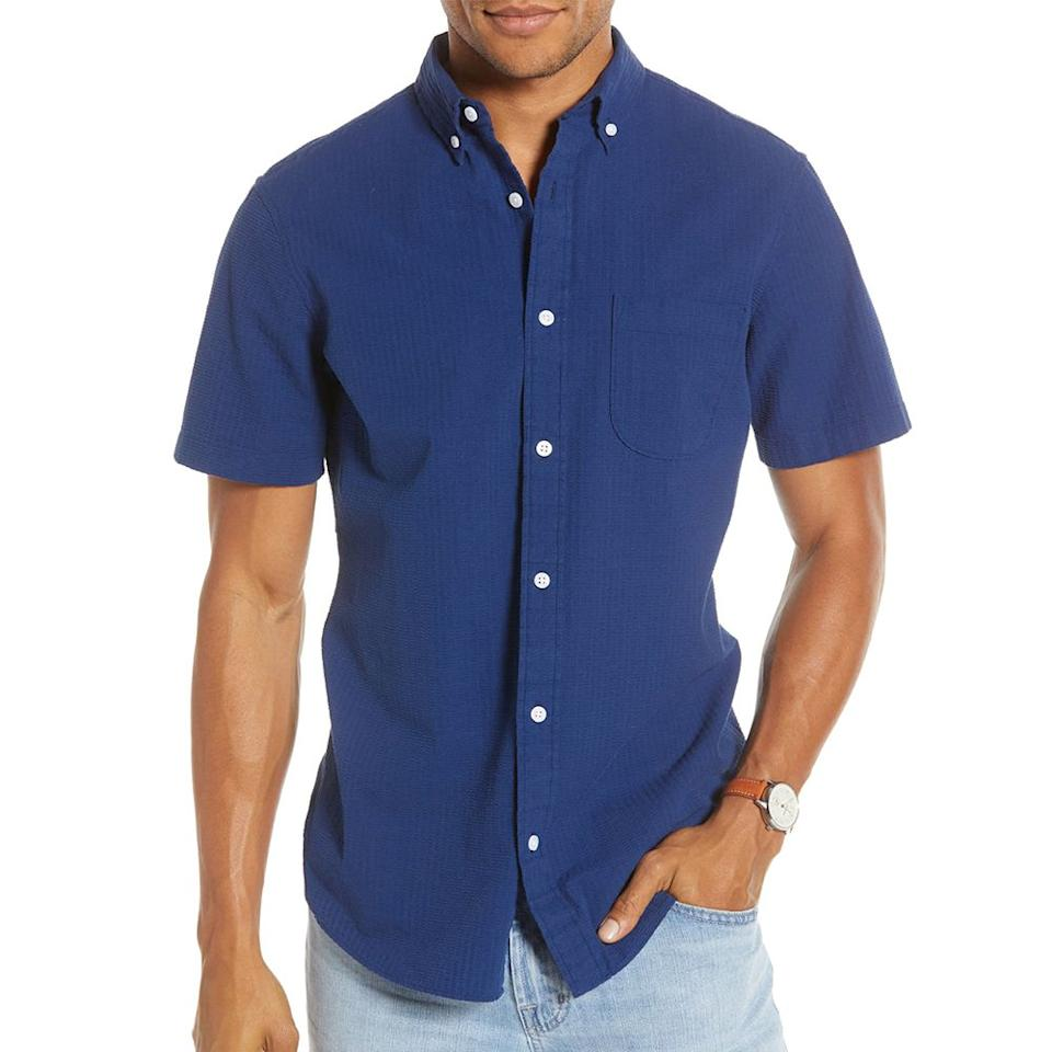 """<p><strong>1901</strong></p><p>nordstrom.com</p><p><strong>$59.50</strong></p><p><a href=""""https://go.redirectingat.com?id=74968X1596630&url=https%3A%2F%2Fshop.nordstrom.com%2Fs%2F1901-trim-fit-seersucker-sport-shirt%2F4718961&sref=http%3A%2F%2Fwww.menshealth.com%2Fstyle%2Fg27818882%2Fflattering-shirts-men%2F"""" target=""""_blank"""">BUY IT HERE</a></p><p>This short-sleeve seersucker shirt is cut just right to flatter any guy's biceps (big or small). Shirt sleeves are often too short with a less-than-flattering look, but this shirt, which is part of Nordstrom's private label, hits the right notes when it comes to fit: trim but not skinny through the body, a sleeve that hits a mid-bicep length, and a hem length that looks great tucked in or out. It's an all around great pick for a short-sleeve shirt with the added benefit of seersucker fabric, which will help to keep you cool while providing a nice texture for standout style. </p>"""