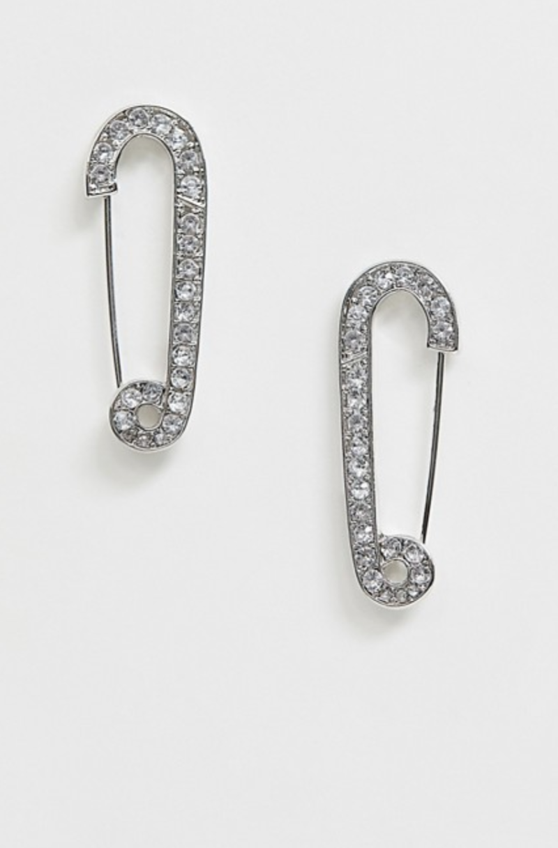 ASOS DESIGN Earrings in Crystal Safety Pin Design