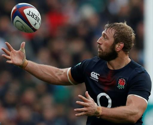 England's flanker Chris Robshaw catches a loose ball after it went wayward from a lineout during a rugby union Test match against Argentina, at Twickenham stadium in London, in November 2016