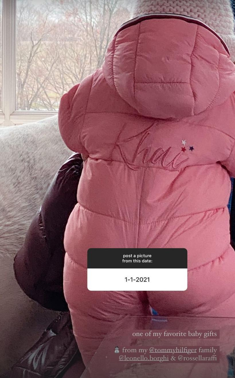 <p>Khai is already the most stylish baby around! Hadid showed off her daughter's custom Tommy Hilfiger snow suit, which has her name embroidered on the back. </p>