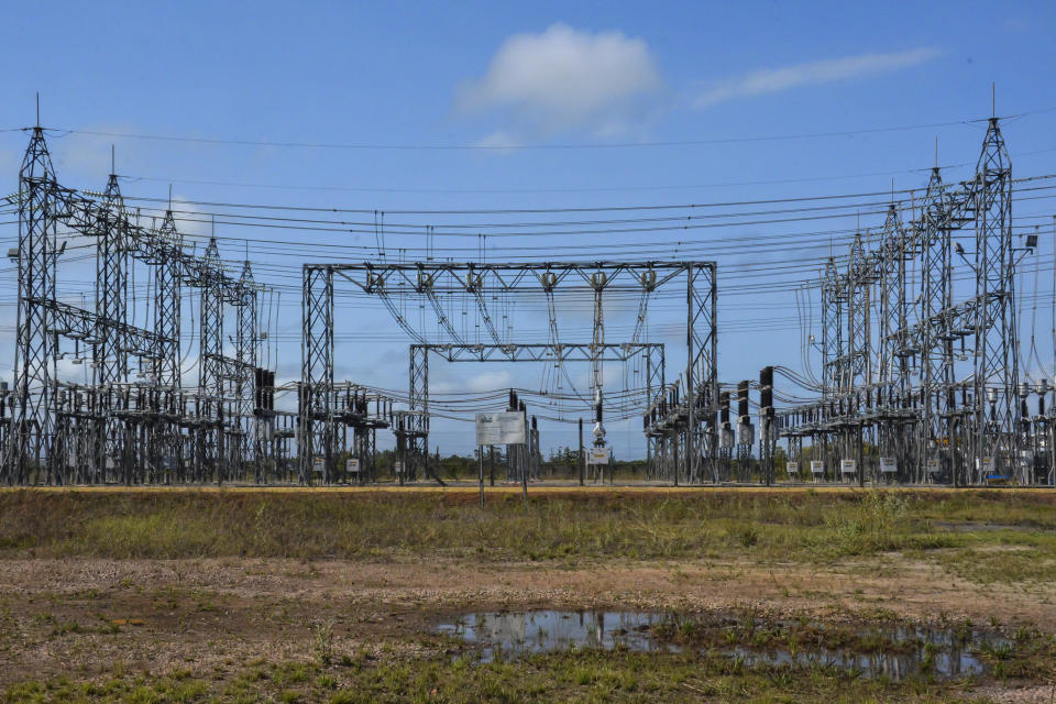 MACAPA, BRAZIL - NOVEMBER 08: A general view of the 230/69 kV Macapa substation during a blackout due to a fire on November 08, 2020 in Macapa, Brazil. The substation located in the North Zone of Macapa undergoes maintenance after a fire that has left 89% of the state of Amapa (about 765 thousand people) without electricity since Tuesday the 3rd. There is a lack of running water in the city and ATMs and card machines do not work and only gas stations with a generator are able to operate. (Photo by Luiza Nobre/Getty Images)
