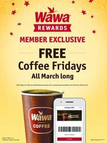"""Wawa Announces the Return of """"Free Coffee Fridays"""" in March for Wawa Rewards Members"""