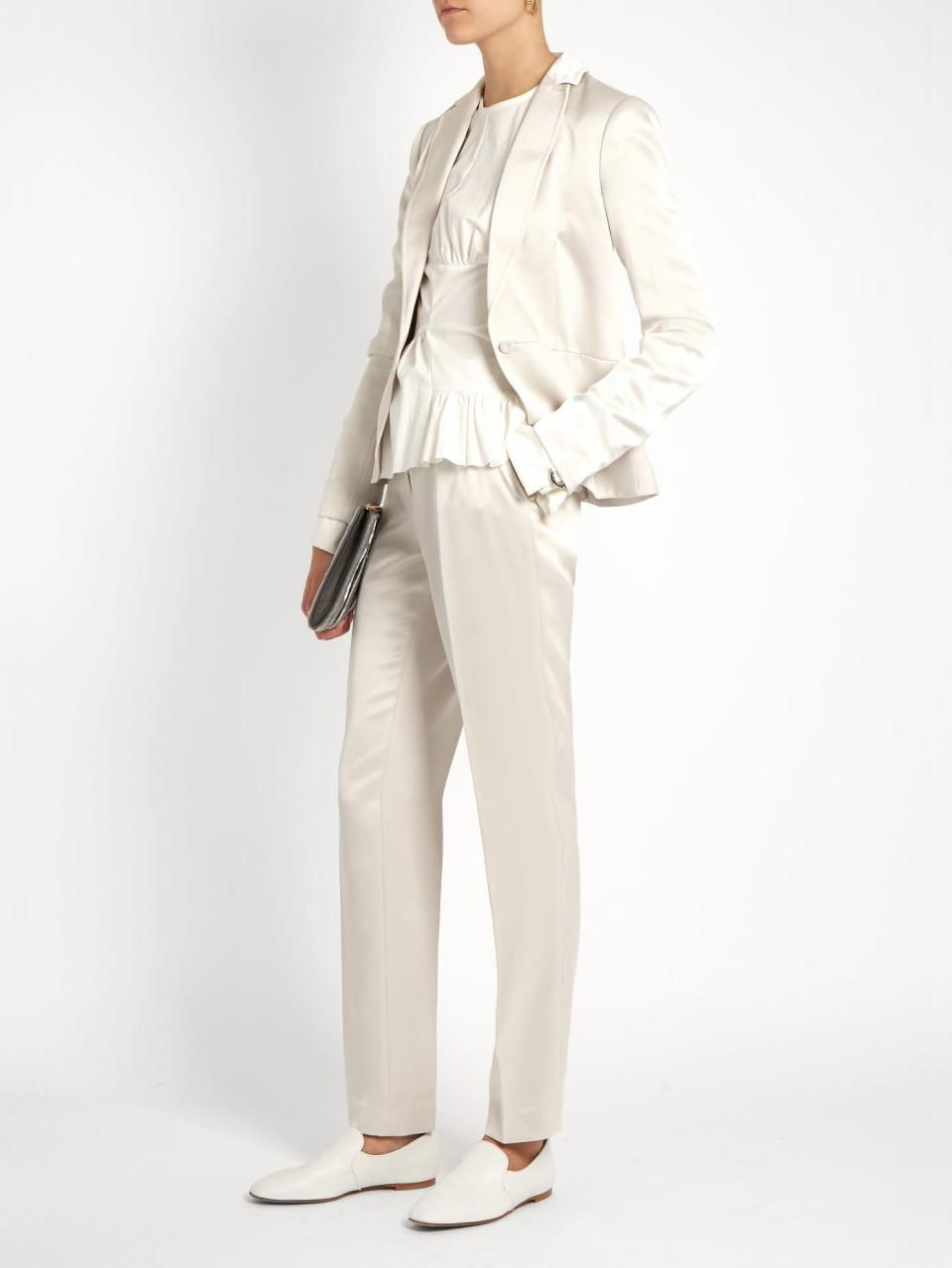 <p>This satin version is ideally if you want to give a soft edge to your outfit. Trousers £292, jacket £441. </p>