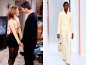<p><strong>The moment:</strong> Season 2, episode 15</p><p>The episode which sees Ross and Rachel finally get together for the very first time also boasts this very key fashion moment. Rachel's pastel lemon-yellow polo-neck has a sporty, athleisure vibe that's very in-keeping with today's post-pandemic style. Plus, the ice-cream colours contrasting against the black mini skirt is a very '90s styling move that feels distinctly Gen Z.</p>