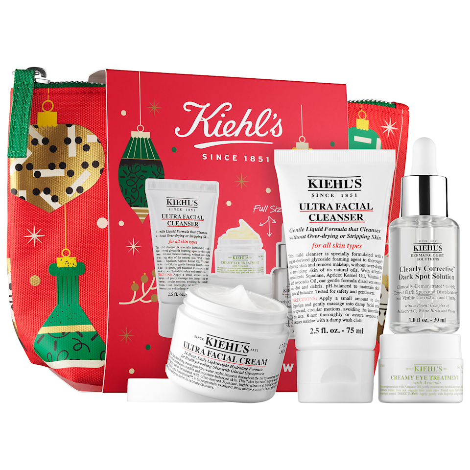 """Know anyone who's used up all their skin care products this year? If so, help them restock. This beauty gift set is essentially a whole routine packed into a cute little bag and comes complete with a cleanser, dark spot serum, moisturizer, and the brand's beloved eye cream. $99, Sephora. <a href=""""https://www.sephora.com/product/kiehls-brighten-up-glow-P461174"""" rel=""""nofollow noopener"""" target=""""_blank"""" data-ylk=""""slk:Get it now!"""" class=""""link rapid-noclick-resp"""">Get it now!</a>"""
