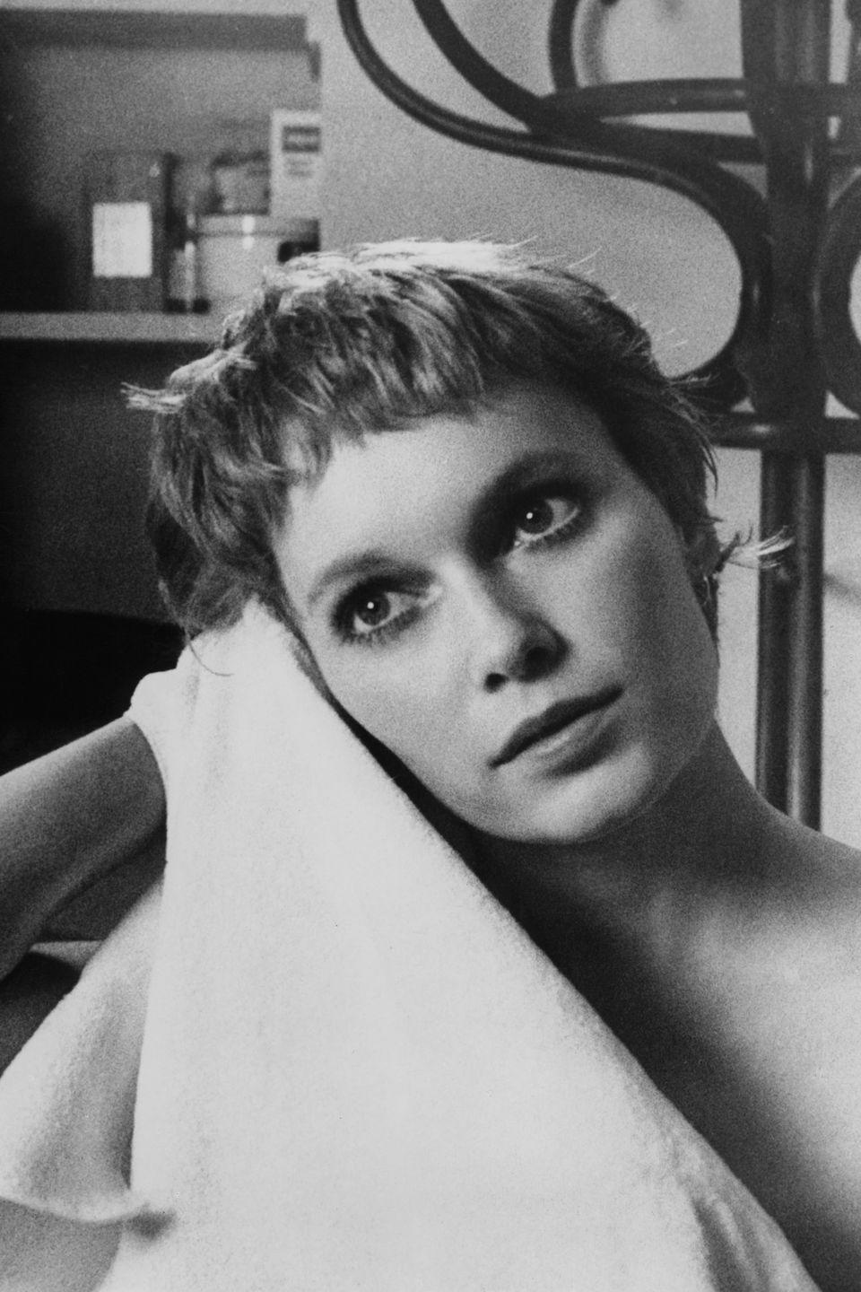 <p>Farrow dries off in a scene for <em>John and Mary</em>. Farrow costarred in the romantic drama with Dustin Hoffman, and it was directed by Peter Yates.</p>