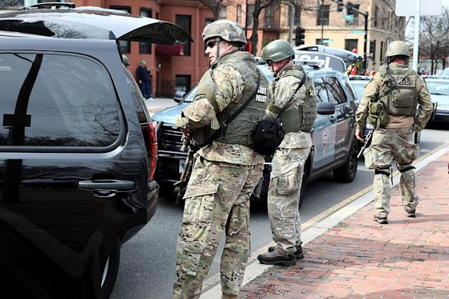 BOSTON, MA - APRIL 15: State police guard an area near Kenmore Square after two bombs exploded during the 117th Boston Marathon on April 15, 2013 in Boston, Massachusetts. Two people are confirmed dead and at least 23 injured after two explosions went off near the finish line to the marathon. (Photo by Alex Trautwig/Getty Images)