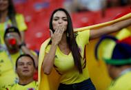 <p>A Colombia fan inside the stadium before the match REUTERS/Carl Recine </p>