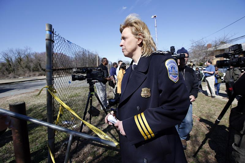 Washington Police Chief Cathy Lanier leaves after speaking during a media availability about a body found in Kenilworth Park, Monday, March 31, 2014, in Washington. Police have been searching the park in northeast Washington since last week for clues in the case of eight-year-old Relisha Rudd, last seen in the company of Kahlil Tatum, a janitor at the homeless shelter where she lived with her mother and brothers.(AP Photo/Alex Brandon)