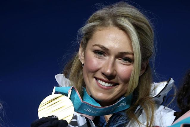 Mikaela Shiffrin after winning the Olympic gold medal in the giant slalom event. (Photo: Getty Images)