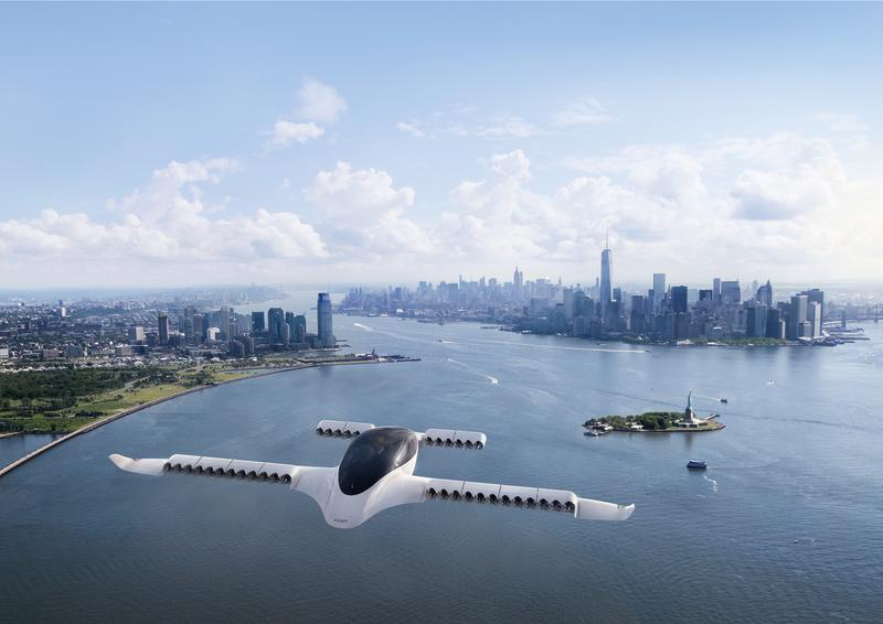 New York - Manhattan overview from the Lilium Jet, a five-seater fully electric air taxi.
